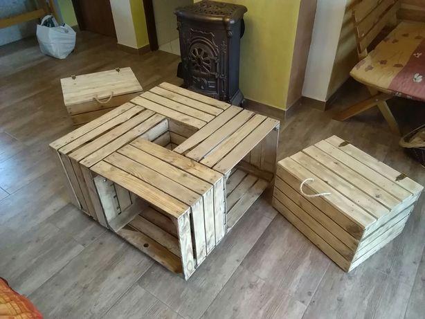 Stół ze skrzynek, meble ze skrzynek