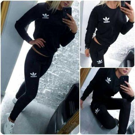 Dresy damskie z logo Adidas bez kaptura kolory czarny szary S-XL!!!