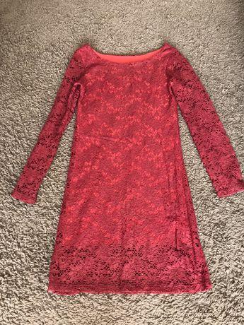 Ciemno czerwona koronkowa sukienka rozm S na wesele komunie