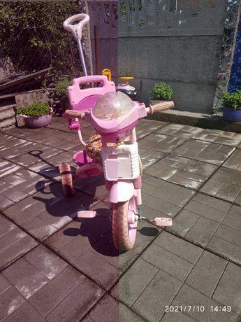 Детский трехколесный велосипед для девочки,розовый,можно на запчасти