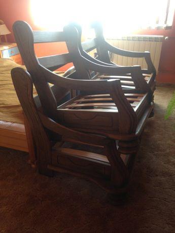 dębowe stelaże kanapa i dwa fotele