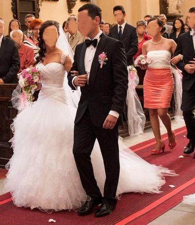 Suknia ślubna- Loretta , welon, tren, rozm34-36
