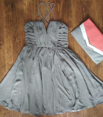 Sukienka S H&M siwa szara 36/38