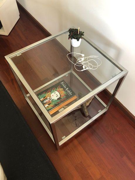 Mesa de apoio /mesinha/cabeceira - inox e vidro - Design moderno