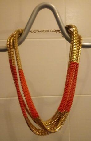 Korale/ Naszyjnik złoto-pomarańczowy z 3 grubszych łańcuchów