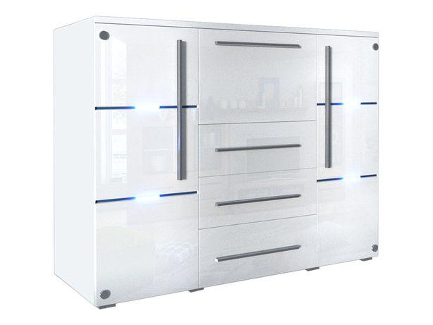 Nowoczesna komoda biały połysk 136cm Szklany front - LED