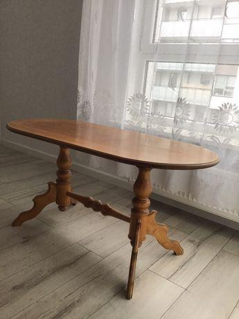 Ława drewniana rzeźbiona dębowa vintage stół toczone nogi