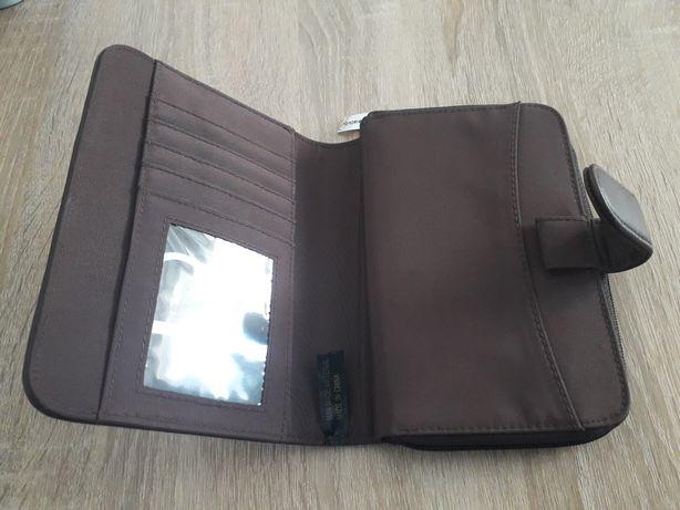 Duży portfel damski brąz