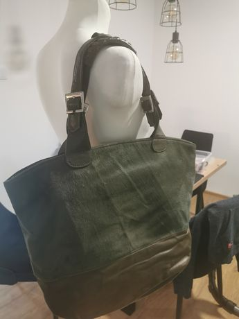 Duża torba że skóry khaki