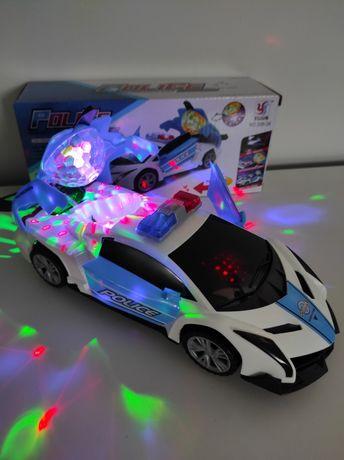 Nowy!! Interaktywny samochód policyjny jeździ świeci dźwięk obrót 360