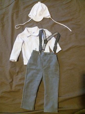 Strój elegancki ubranie wizytowe komplet chrzciny chrzest chłopca 74