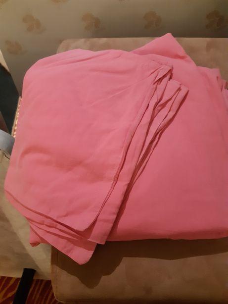 Lençol e 2 capas de almofada cor de rosa