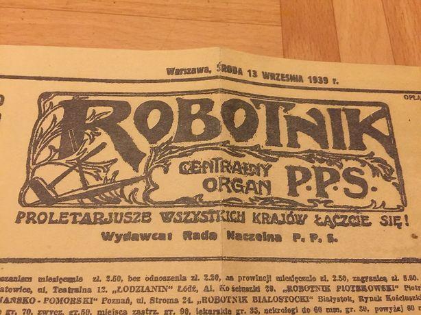 Oryginalna Gazeta Robotnik z 1939 r.