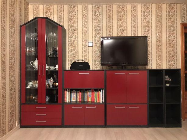 Стенка горка в гостиную цвет красный/чёрный тумба под телевизор