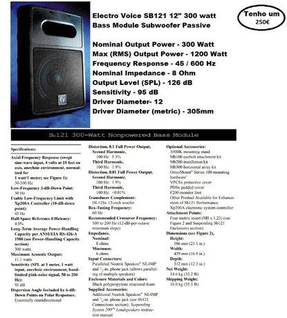 EV-SB121 Subwoofer PASSIVO (Electro Voice)