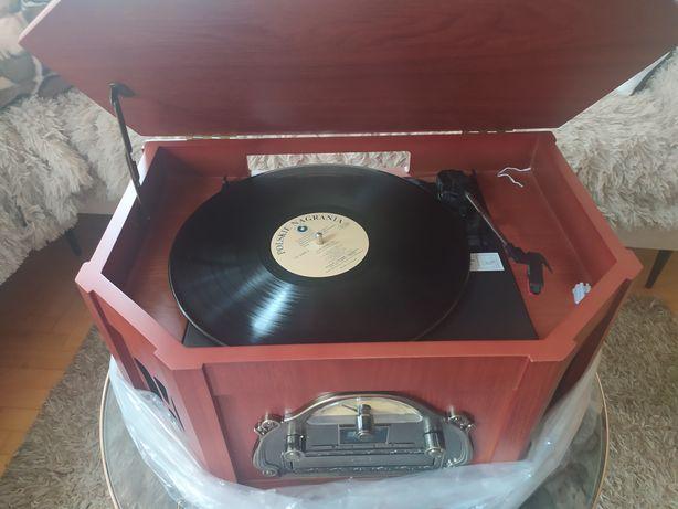 Adapter winyl gramofon retro radio drewniany CD nowy!!