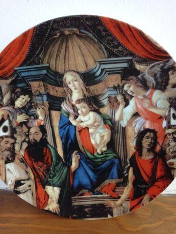 """Prato decorativo 'A virgem e o menino rodeado por anjos e santos"""""""