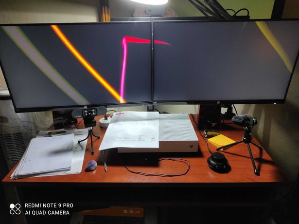 2 monitores HP 24w Full HD + suporte 2 monitores
