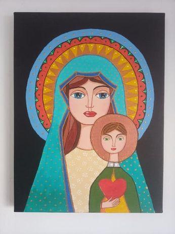 Madonna z Jezusem .Obraz akrylowy.Fantasy.(narodziny chłopca,chrzest)