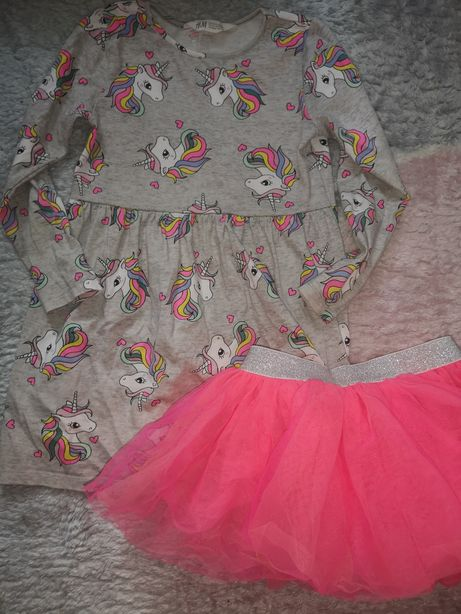 Sukienka dziewczęca H&M rozmiar 110/116 plus spódniczka tiulowa
