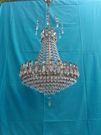 Candelabro  de Cristal  Vintage  estilo antigo  em latão  envelhecido