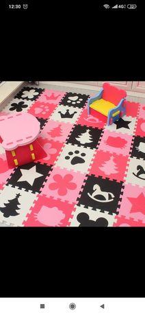 Puzzle piankowe mata dla dziecka kontrastowa czarno-biało-czerwone