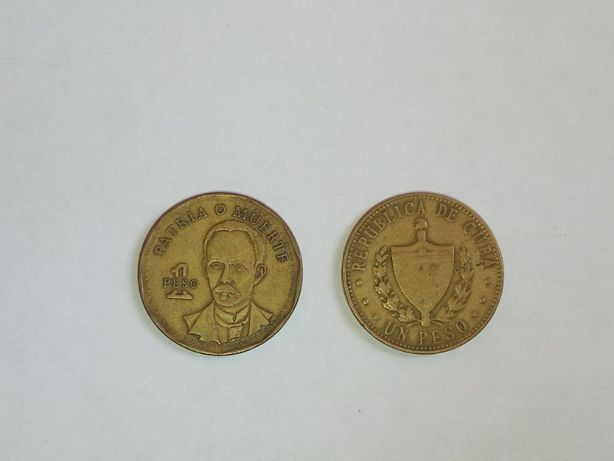 Монета 1 песо Куба 1987 и 2001 года
