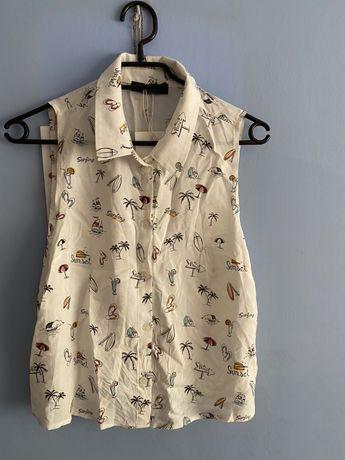 Koszula bez rękawów z węzłem - BERSHKA