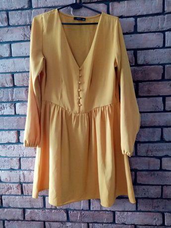 Miodowa sukienka na długi rękaw 42r Reserved dekolt XL. Musztardowa su