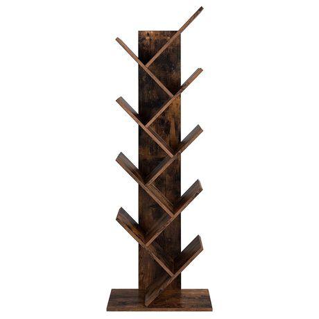 Półka na książki skośna, brązowy regał w kształcie drzewaVASAGLE
