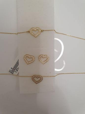 Złoto pr.585 kolczyki, bransoletka łańcuszek