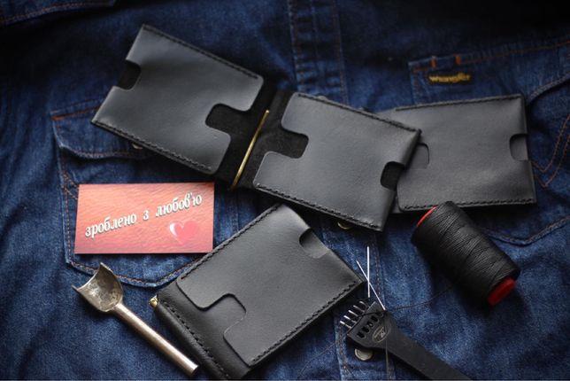 Зажим для денег кожаный кошелек мужской портмоне. Прижим для куп'юр