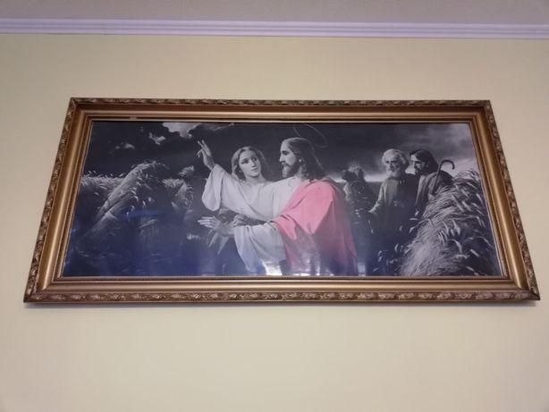 Duży obraz z Jezusem w pięknej ramie, 132/63cm