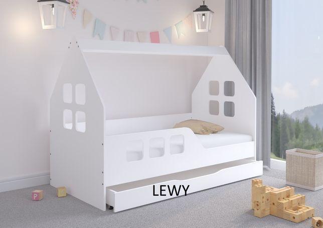 Łóżko dziecięce DOMEK z SZUFLADĄ 160x80 BIAŁE + materac