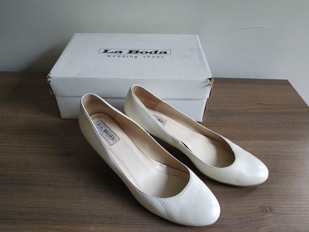 La Boda r.39 Wedding Shoes Buty Ślubne Ivory Skórzane