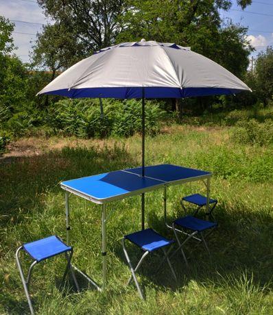 Раскладной стол для пикника для пикника 60*120 см с прочным зонтом!