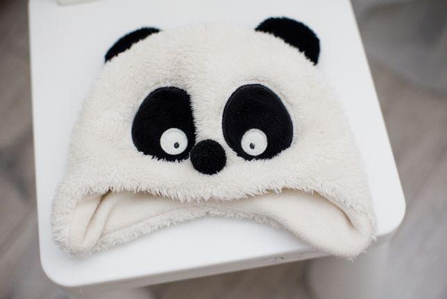 Детская шапка панда, на 1-3 года. Холодная весна осень, на флисе