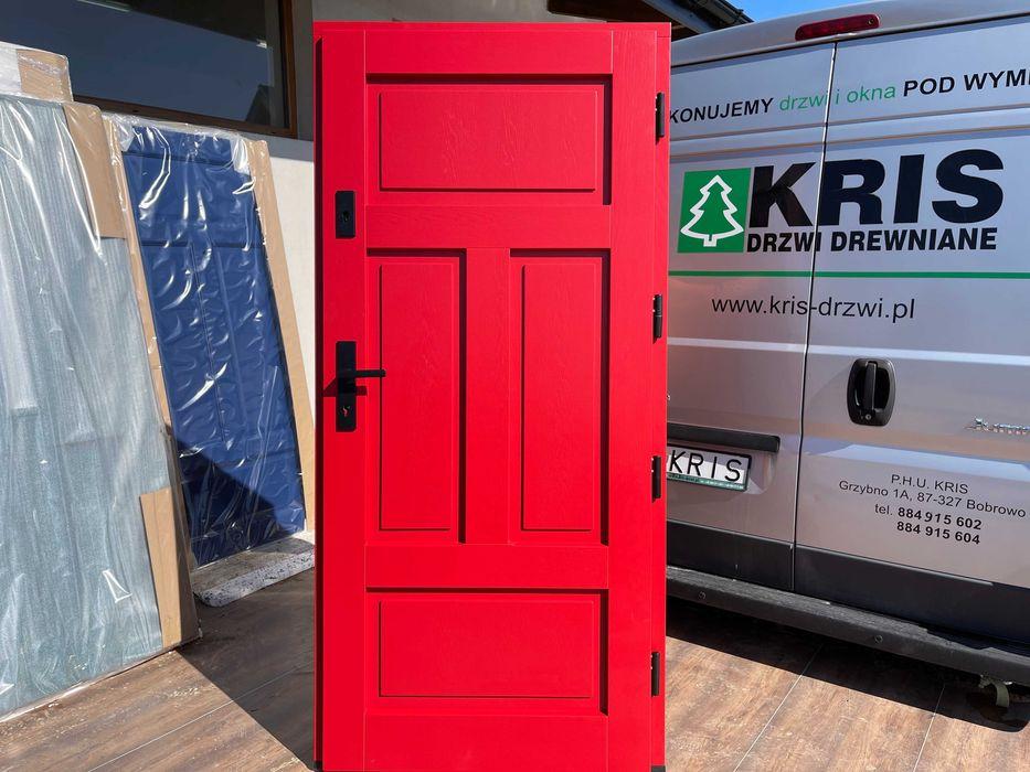 Drzwi zewnętrzne drewniane ocieplane CZERWONE  DOSTAWA CAŁA POLSKA Grzybno - image 1