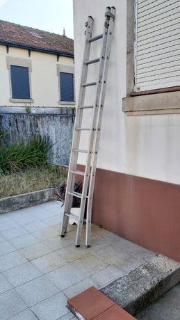 Escada / escadote alumínio 2 lanços - 2.75m cada - 5.5m total