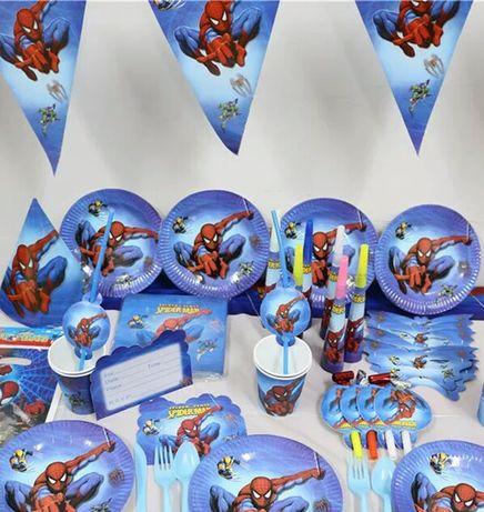"""Декор """"Человек паук"""" набор (шарики, скатерть, топперы, колпачки, фото)"""