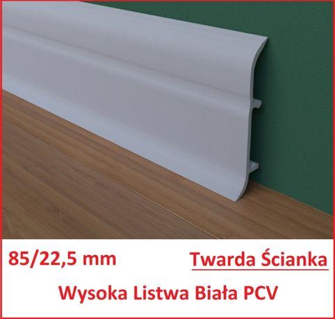 85 mm/ 22,5 mm Listwa Przypodłogowa PCV Wysoka Biała z Gumką