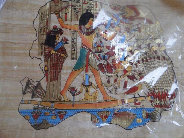 Papirus z Egiptu piękne kolory bez ramy