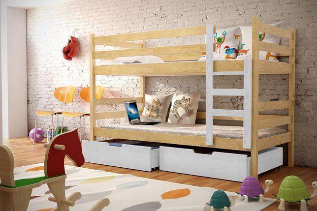 Drewniane łóżko dziecięce Nela 2 osobowe! Materace w zestawie