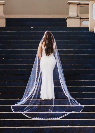 Suknia ślubna biała, koronkowa, rozmiar 38