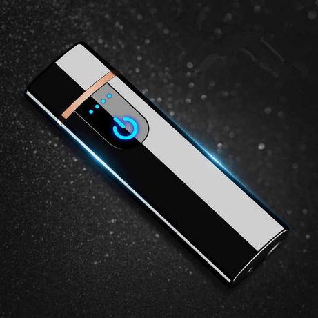 Подарочная USB зажигалка спиральная LIGHTER, сенсорная черная