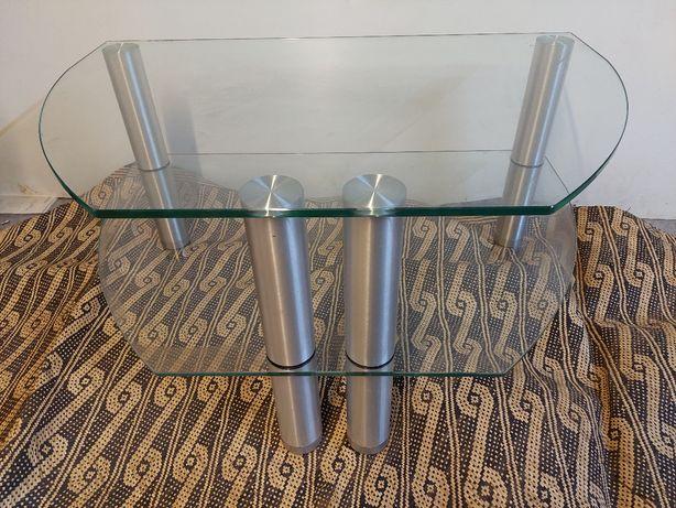 Mesa de TV em vidro e alumínio