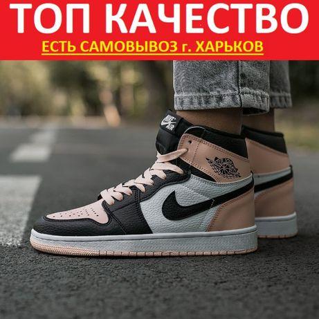 "Кроссовки Nike Air Jordan Retro 1 ""Beige/White/Black"" Женские найк"
