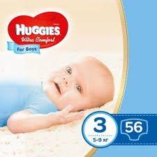 Подгузки для мальчиков Huggies Ultra Comfort размер 3, 5-9 кг, 56 шт