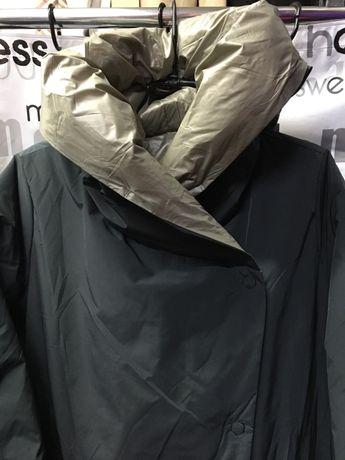 Пальто женское, длинное, двухстороннее 100% пух фабрика Италия