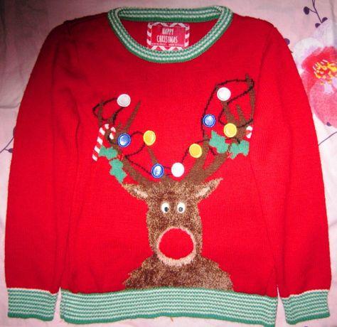 Новогодний свитер с оленем на 8-10 лет